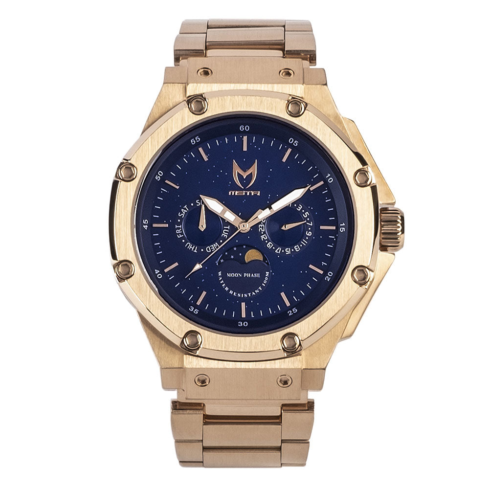 AM306SS - AMBASSADOR MOONPHASE ROSE GOLD / BLUE / SS BAND