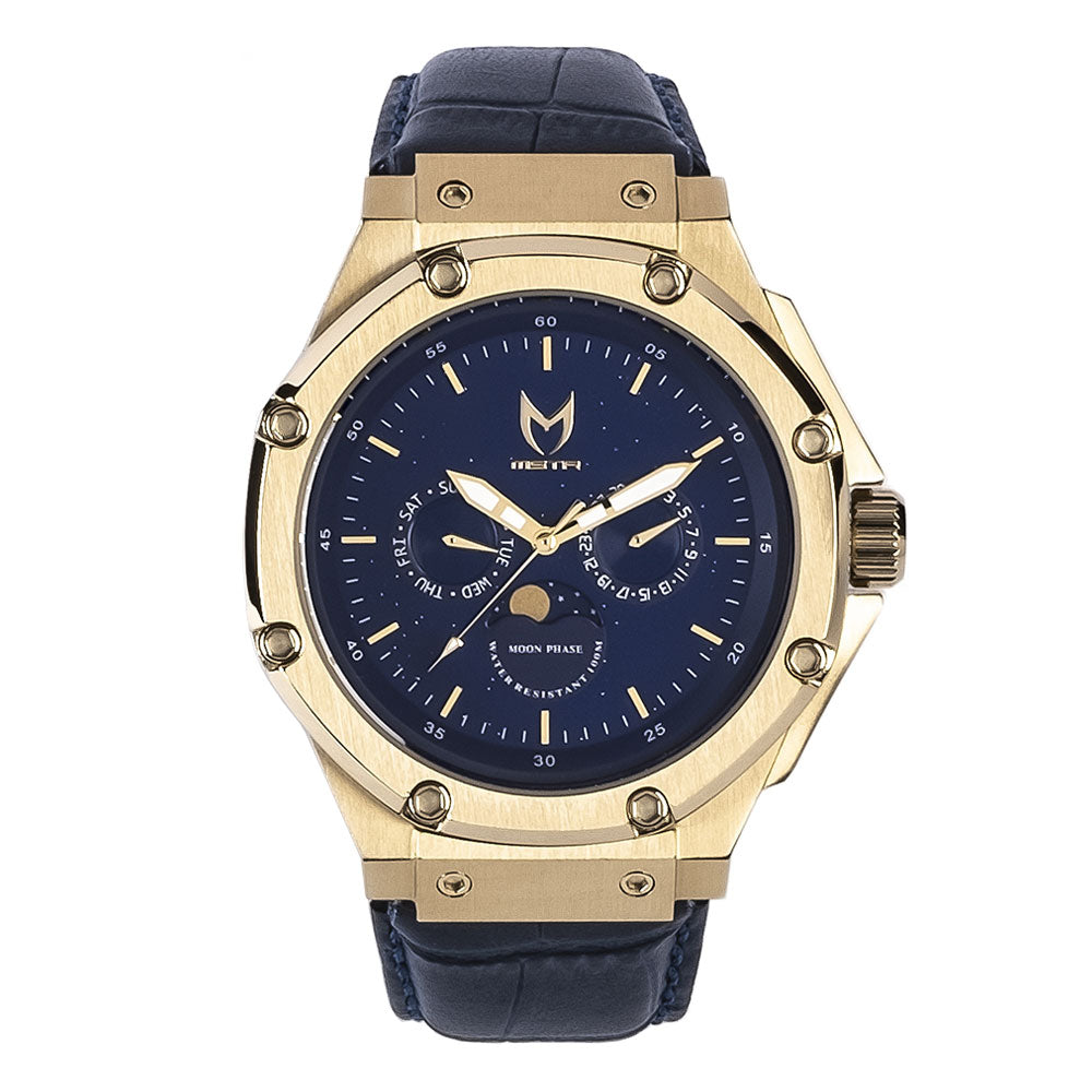 AM307CB - AMBASSADOR MOONPHASE CHAMPAGNE GOLD / BLUE / CROC STYLE BAND