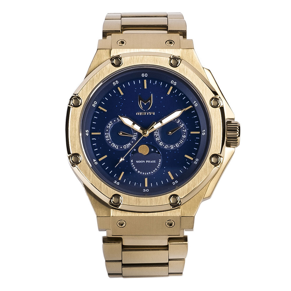 AM307SS - AMBASSADOR MOONPHASE CHAMPAGNE GOLD / BLUE / SS BAND