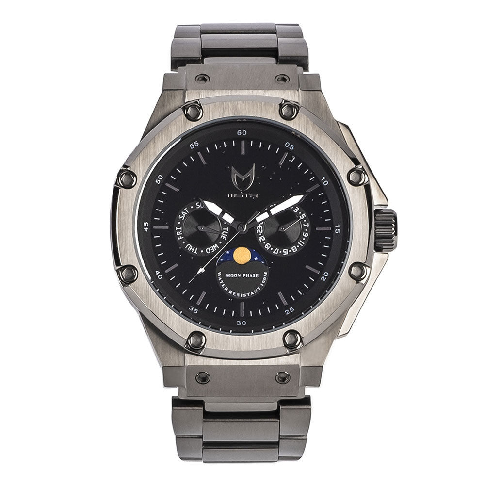 AM308SS - AMBASSADOR MOONPHASE TITANIUM GREY / BLACK / SS BAND