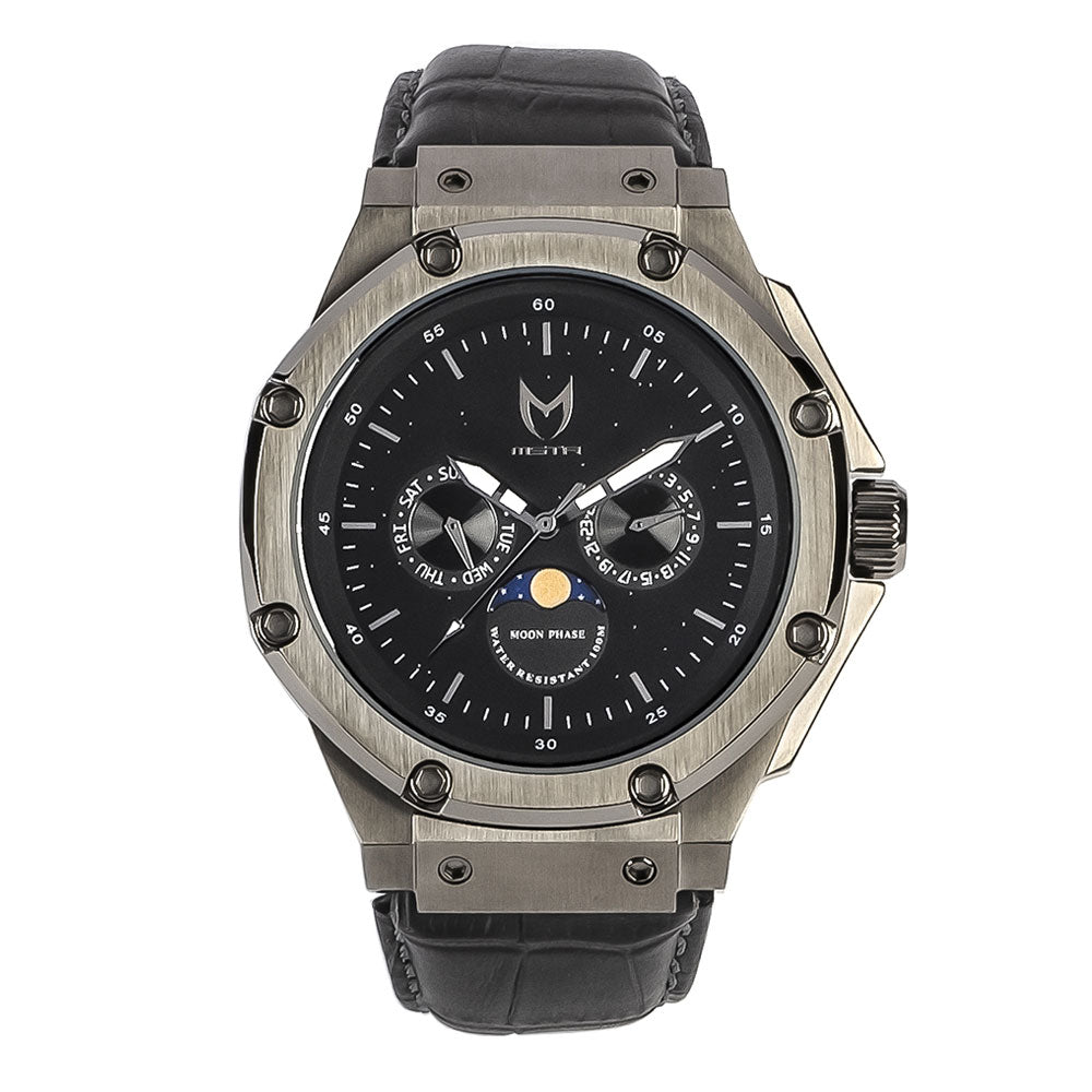 AM308CB - AMBASSADOR MOONPHASE TITANIUM GREY / BLACK / CROC STYLE BAND