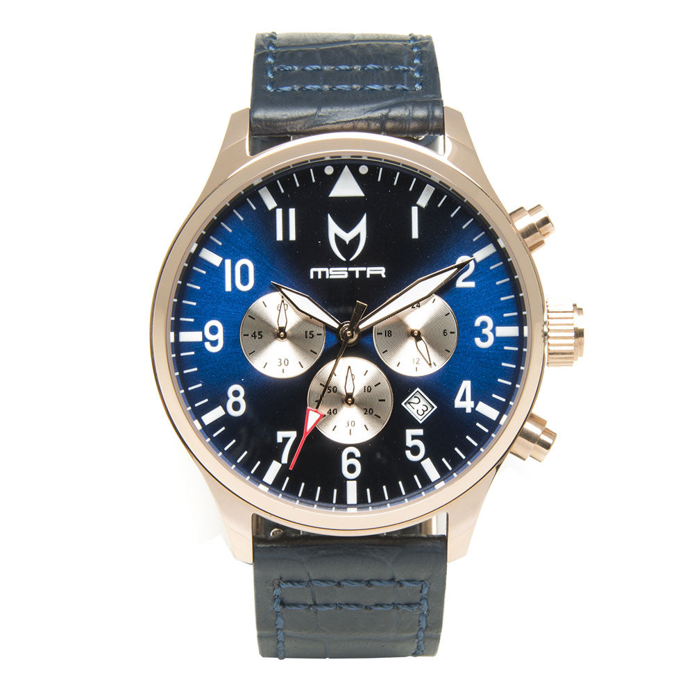 AV117CB - AVIATOR POLISHED ROSE GOLD / BLUE / CROC STYLE BAND