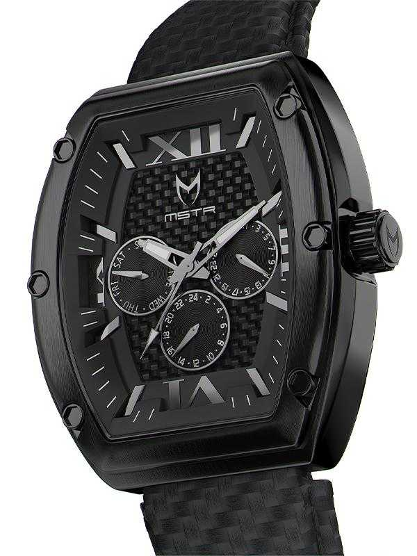 MJ105CF - MAJOR BLACK / BLACK LEATHER BAND