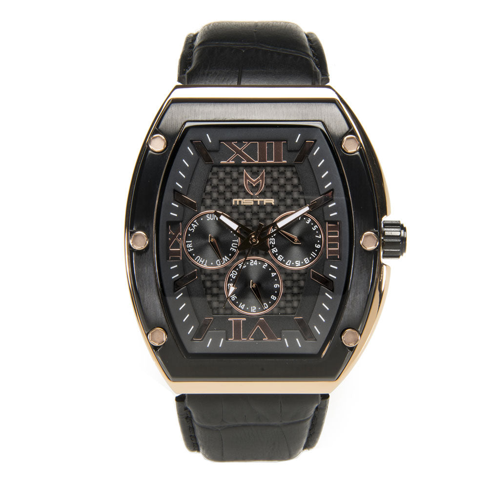 MJ107CB  - MAJOR ROSE GOLD BLACK / BLACK / LEATHER BAND
