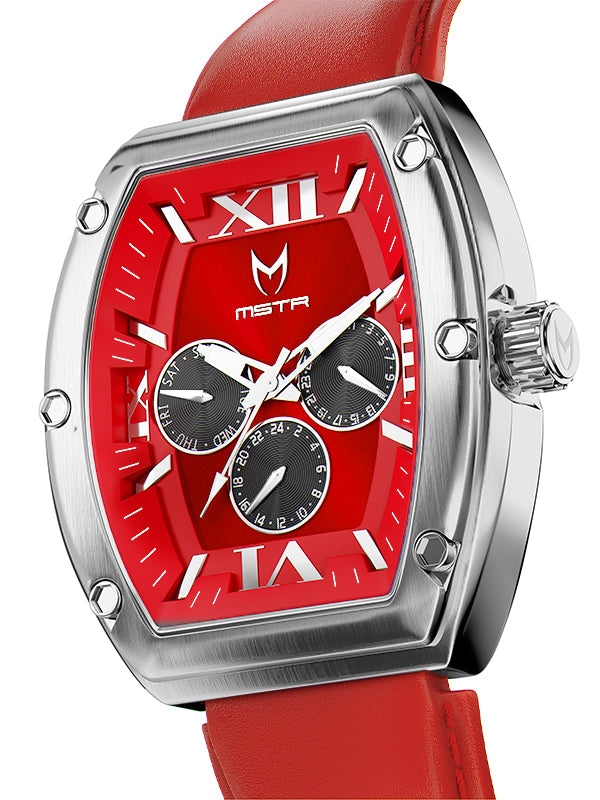 MJ128LB - MAJOR SILVER / RED / LEATHER STRAP