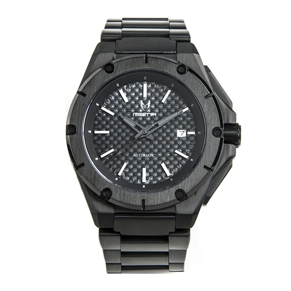 NO104SS - MSTR NOBLE AUTOMATIC / ALL BLACK WITH CARBON FIBER - STAINLESS STEEL LINKS