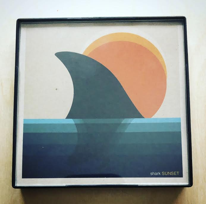 """Shark Sunset"" 4x4 Print Framed"