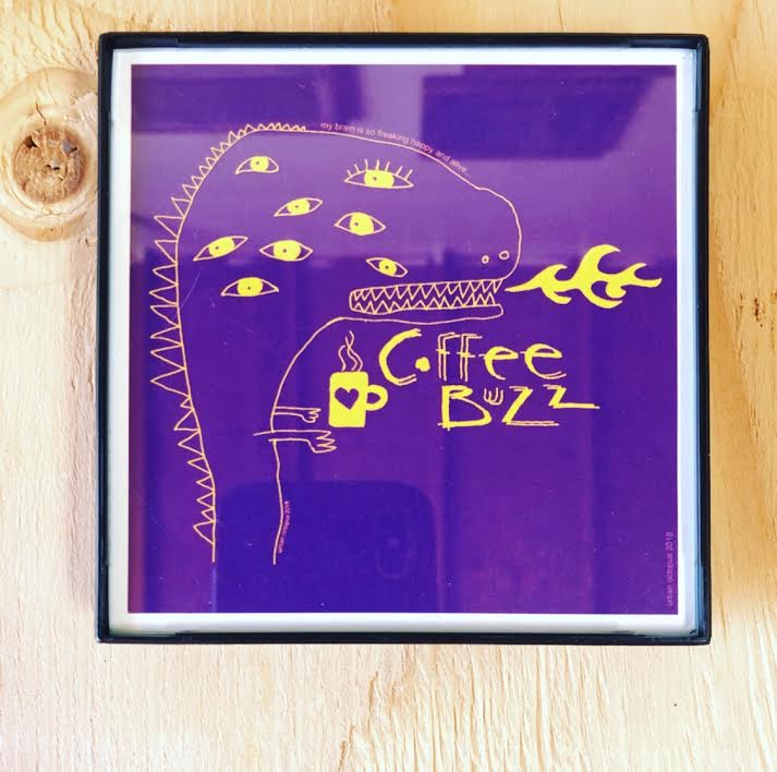 """Coffee Buzz"" 4x4 Print Framed"