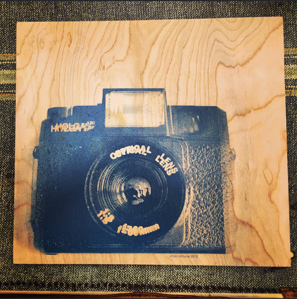 """120 Camera""  12"" x 12"" screen print on wood"