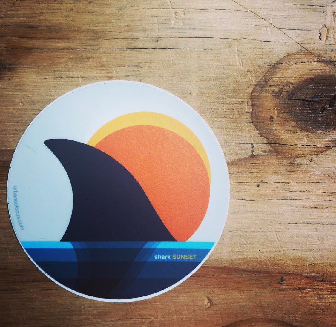 """shark sunset"" sticker"