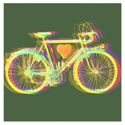 """I Love You Bicycle V2"" 4x4 Print"