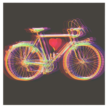 """I Love You Bicycle V1"" 4x4 Print"
