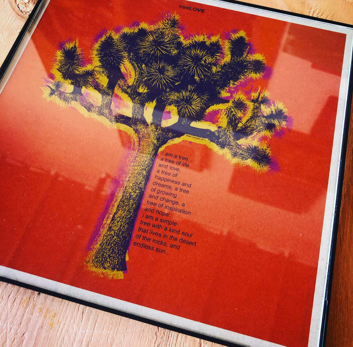 """Tree Love Orange"" 8x8 Print Framed"