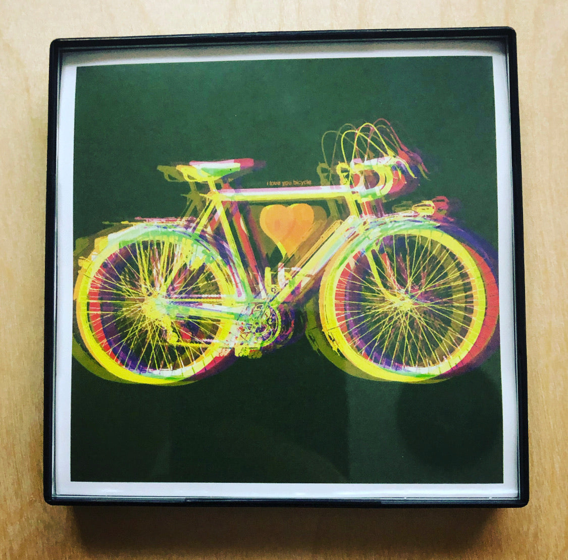 """Bicycle Love"" 4x4 Print Framed"