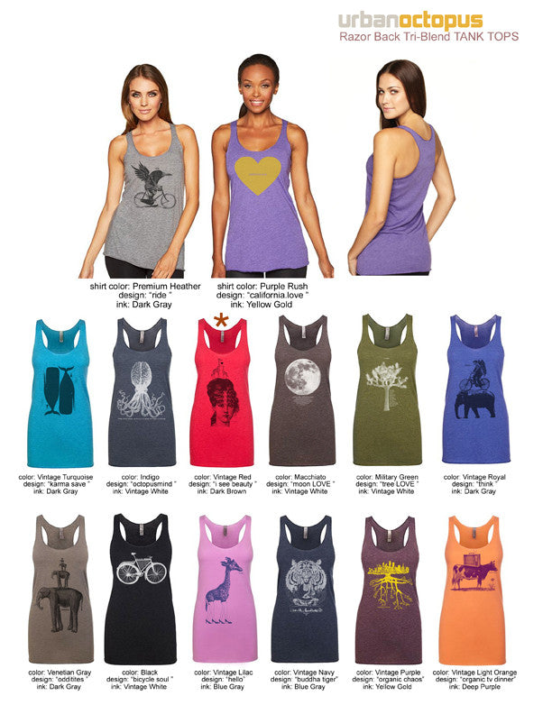 """Hello Giraffe"" Ladies Tri-Blend Racerback Tank"