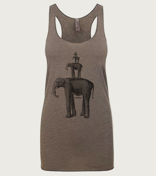"""Oddities"" Ladies Tri-Blend Racerback Tank"