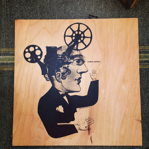 """Motion Picture""  12"" x 12"" screen print on wood"