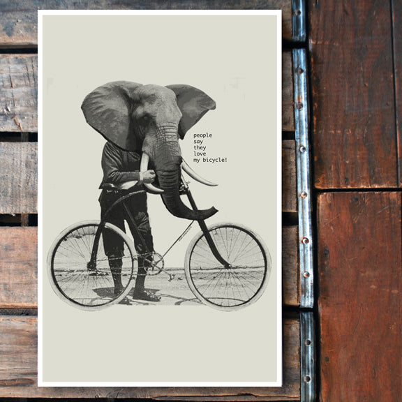 """People Say"" elephant bicycle 11x17 Poster"