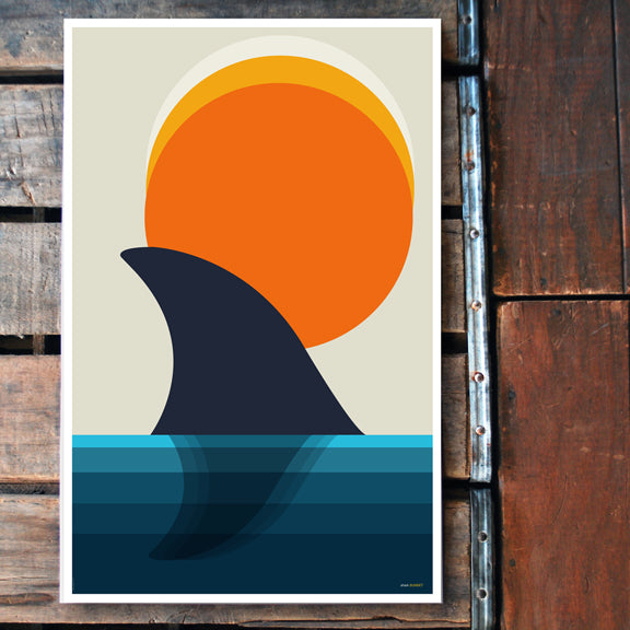 """Shark Sunset"" 11x17 Poster"