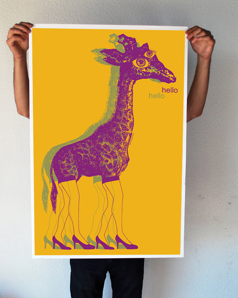 """Hello"" Giraffe 24x36 Giant Poster (New Item!)"