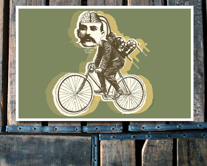 """Bicycle Brain"" green 11x17 Poster"
