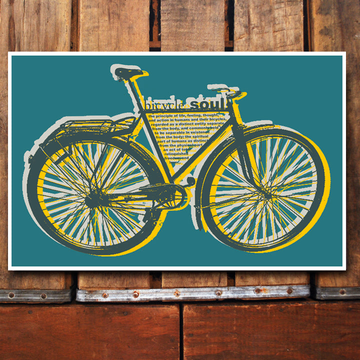 """Bicycle Soul"" teal 11x17 Poster"