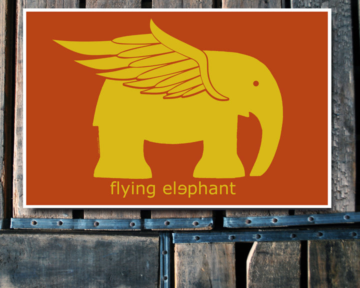 """Flying Elephant"" 11x17 Poster"