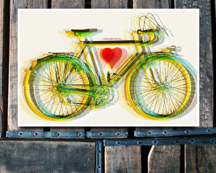 """I Love You Bicycle"" white 11x17 Poster"
