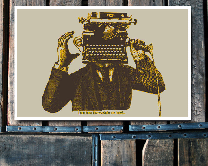 """Words"" typewriter head 11x17 Poster"