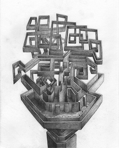 """Junction"" Original Framed Sketch- ""Maze Head"" By Nathan Jurevicius"