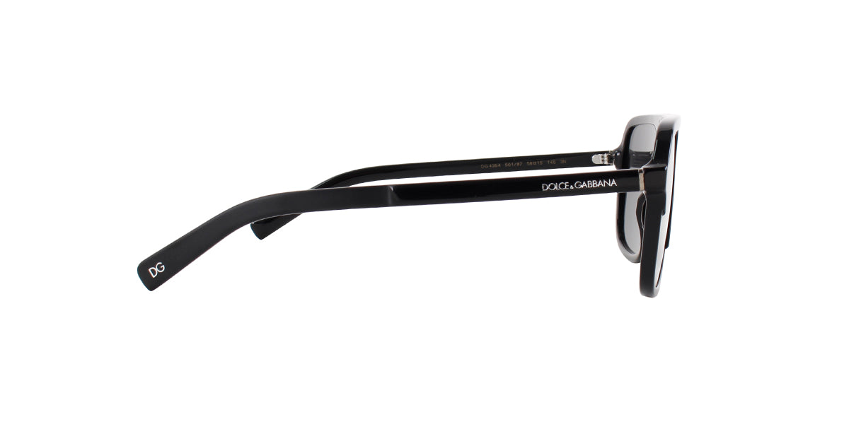 Dolce Gabbana - DG4354 Black/Gray Square Women Sunglasses - 58mm