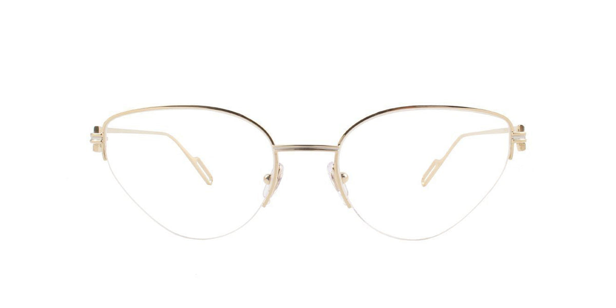 Cartier - CT0157O Gold Cat Eye Women Eyeglasses - 54mm