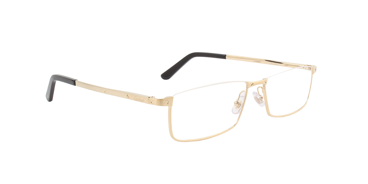 Cartier - CT0169O Gold Rectangular Unisex Eyeglasses - 54mm