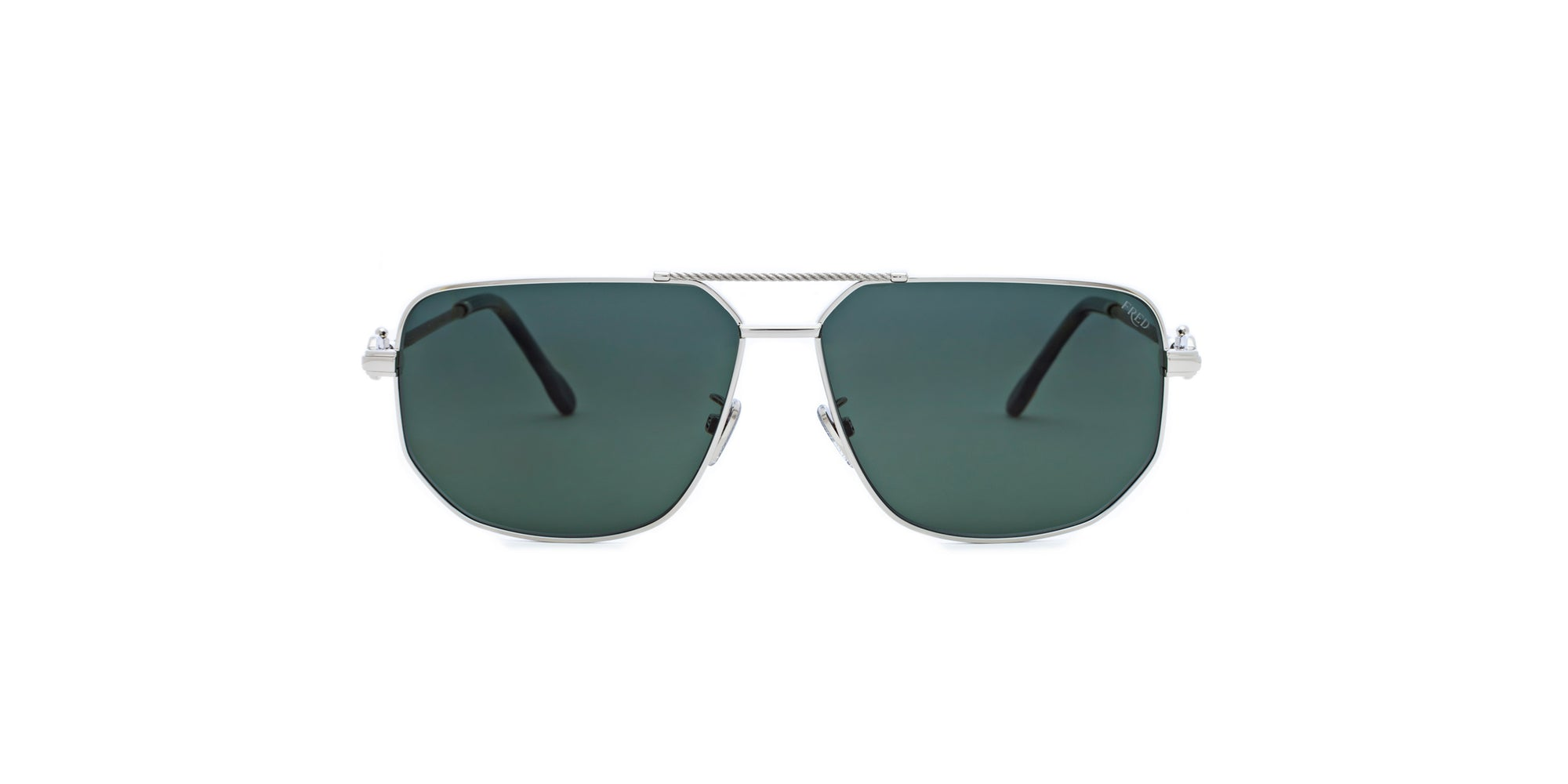 Fred - FG40013U Shiny Rhodium Aviator Sunglasses - 62mm-Sunglasses-Designer Eyes