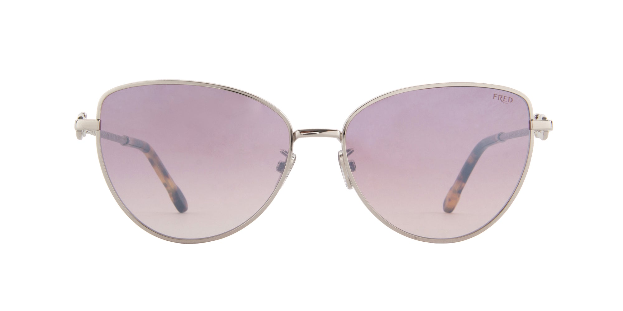 Fred - FG40015U Shiny Rhodium Cat Eye Sunglasses - 59mm-Sunglasses-Designer Eyes