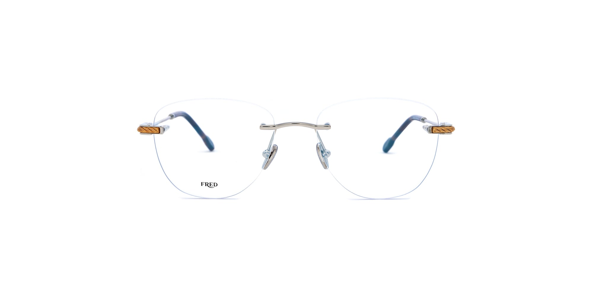 Fred - FG50011U Shiny Rhodium Rimless Eyeglasses - 53mm-Eyeglasses-Designer Eyes