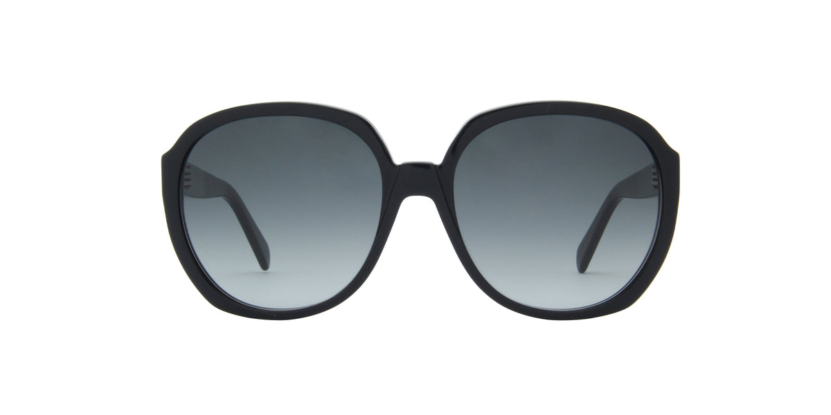 Celine - CL40147I Shiny Black/Smoke Gradient Round Women Sunglasses - 63mm