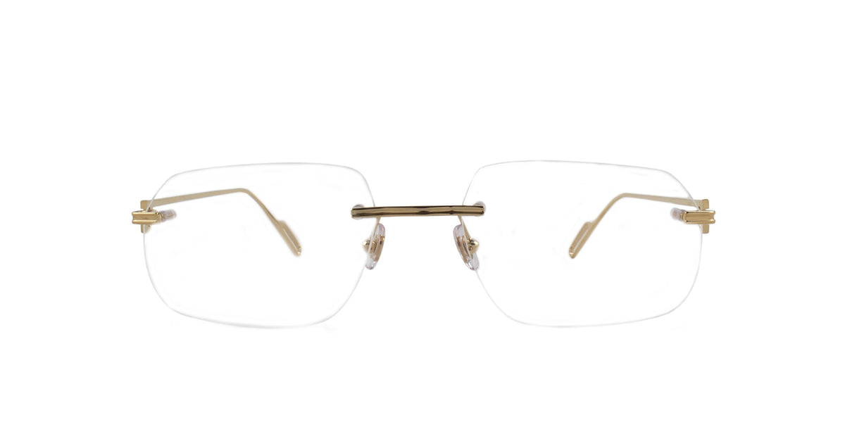 Cartier - CT0113O Champagne Rimless Unisex Eyeglasses - 59mm