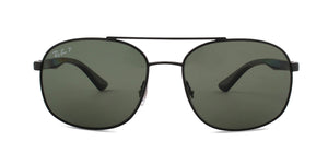 Ray Ban - RB3593 Black/Green Polarized Rectangular Men Sunglasses - 58mm
