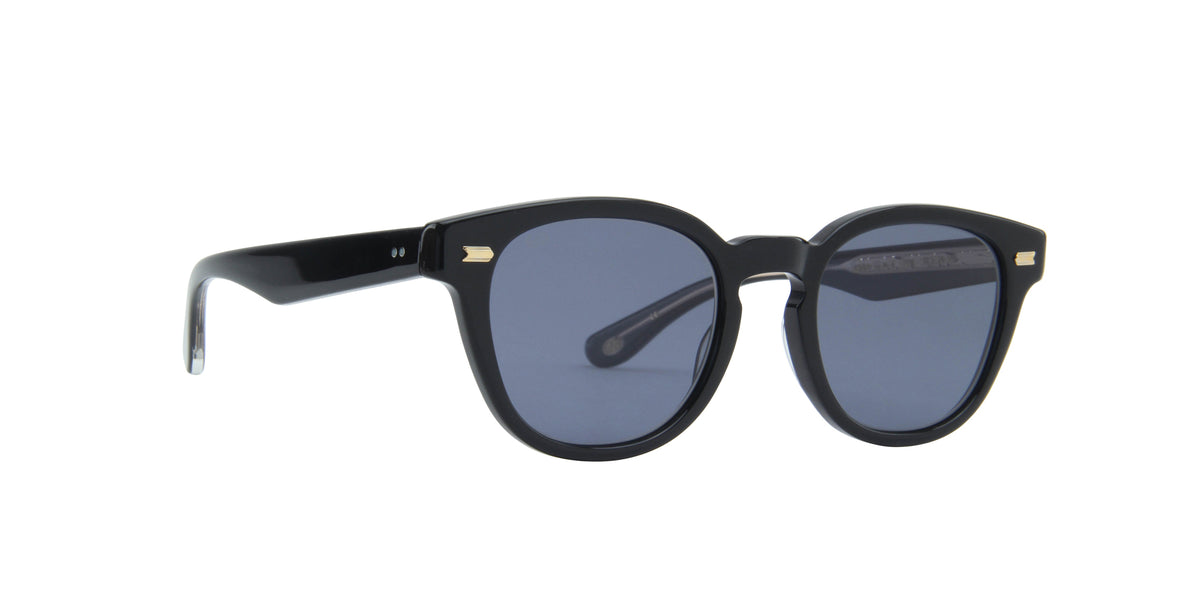 Eyevan - Webb Sun-E Piano Black/Blue Round Unisex Sunglasses - 51mm