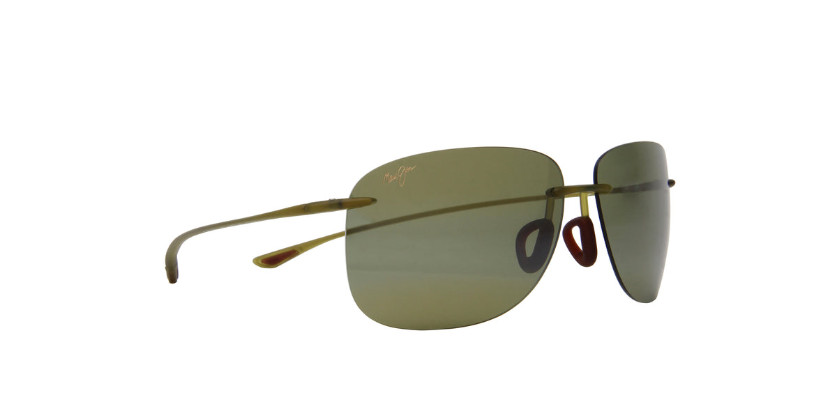 "Maui Jim - Hikina Olive Matte/Maui Htâ""¢ Polarized Rimless Aviator Unisex Sunglasses - 62mm"