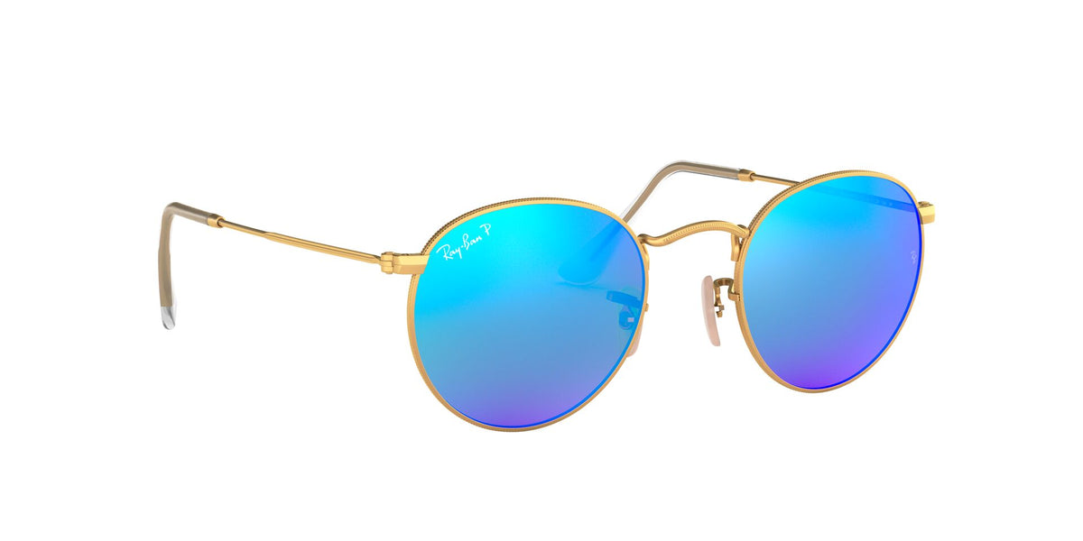 Ray Ban - Round Metal Gold/Blue Mirror Polarized Oval Unisex Sunglasses - 50mm