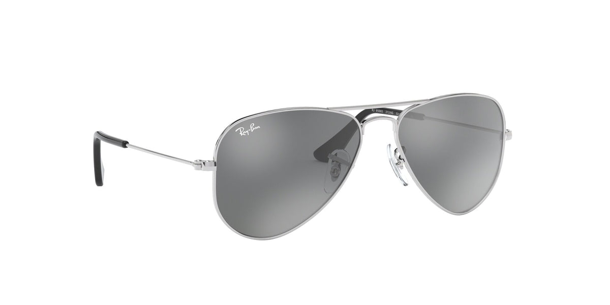 Ray Ban Jr - Aviator Shiny Silver/Grey Silver Mirror  Kids Sunglasses - 52mm