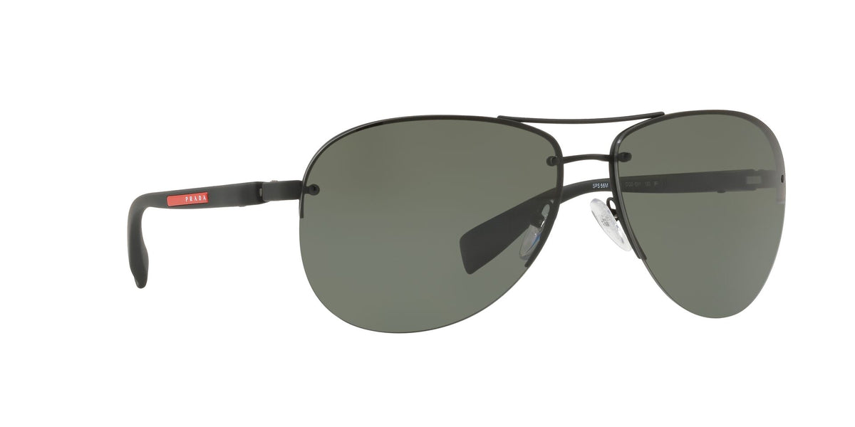 Prada Sport - PS56MS Black Rubber/Green Polarized Aviator Men Sunglasses - 65mm