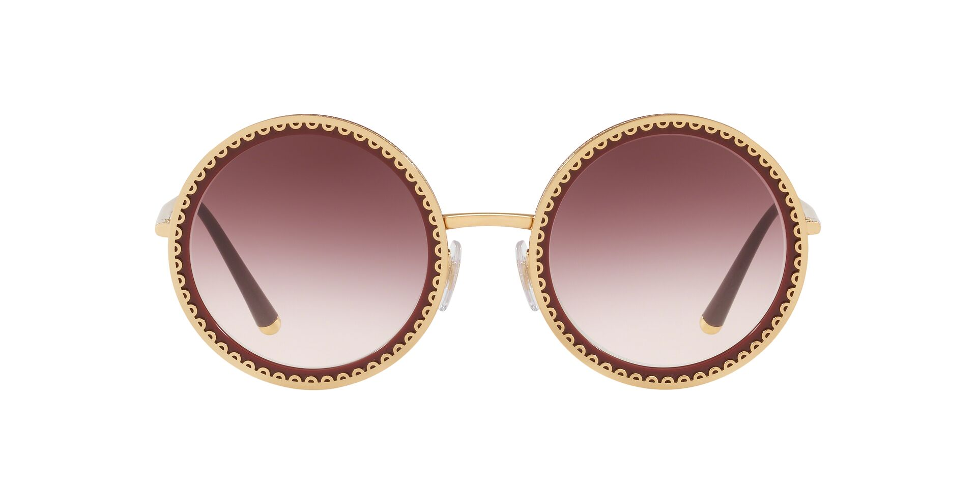 Dolce Gabbana - DG2211 Gold Bordeaux/Violet Gradient Round Women Sunglasses - 53mm