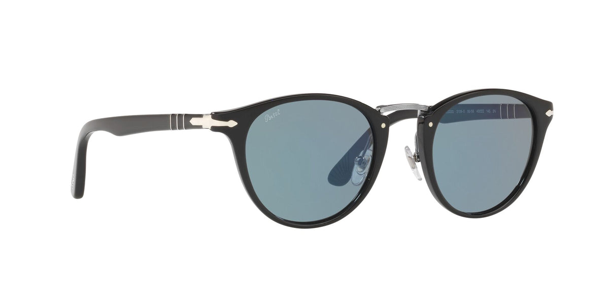 Persol - PO3108S Black/Light Blue Oval Men Sunglasses - 49mm