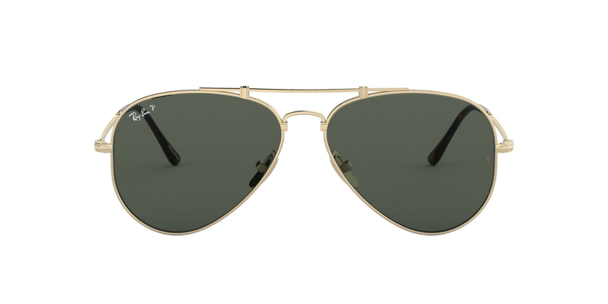 Ray Ban - Titanium Gold/Green - Polar + Ar Polarized Pilot Unisex Sunglasses - 58mm
