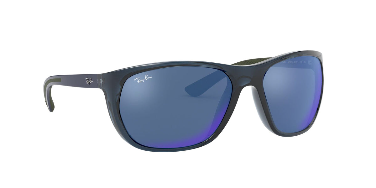 Ray Ban - RB4307 Trasparent Blue/Blue Mirror Square Men Sunglasses - 61mm