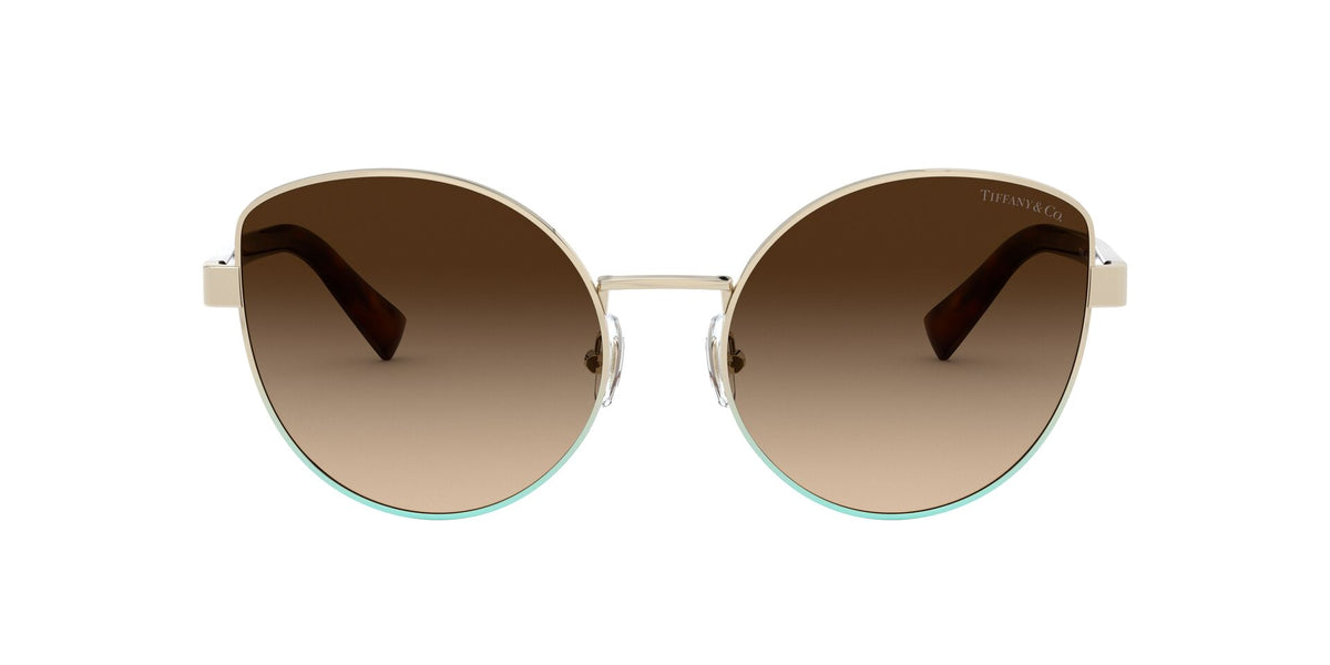 Tiffany - TF3068 Pale Gold Gradient Blue Butterfly Women Sunglasses - 56mm