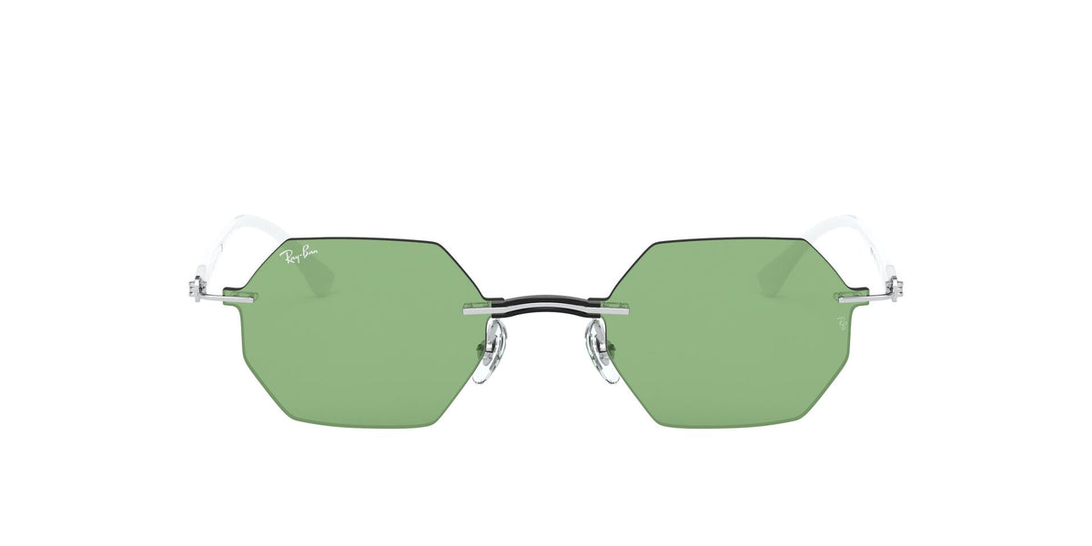 Ray Ban - RB8061 Silver/Dark Green Oval Unisex Sunglasses - 53mm